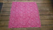 Donna Lovely Pink & White Etnico Stile Sciarpa Con Finiture SILVER MONETA 86 x 86 cm