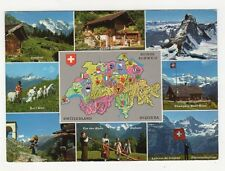 Switzerland, Map Postcard #2, B216