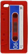 iPHONE 4 4G 4S- Soft Silicone Rubber Cassette Tape Case Skin Cover - Red & Blue
