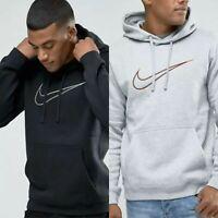 Mens Nike Fleece Logo Hoodie Pullover Jumper Sweatshirt Black Grey S M L XL