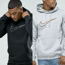 Mens Nike Fleece Logo Hoodie Pullover Jumper Sweatshirt Black Grey S M L XL