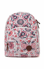 NEW* ROXY BACKPACK BOOK SCHOOL STUDENT Bag Cotton Canvas Ivory Floral Harmony