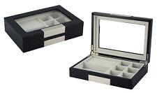 Quality  Black Wooden Cufflink Display Box Ring Tie Clip Storage Case Organizer