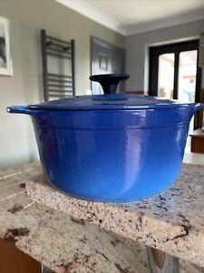 COUSANCES Creuset Marseille BLUE Round Casserole 20cm POT Dish & Lid 2.4L £200