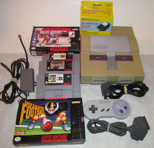 Super Nintendo SNES System Console Bundle with 5 Games 2 Boxed All Hookups Good