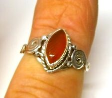 Handmade 925 Sterling Silver Patterned Red Carnelian Marquise Stone Ring Size N