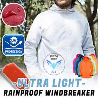Mens Women Casual Jackets Windproof Ultra-Light Rainproof Windbreaker Top Hooded