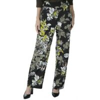 NEW Kim & Co Brazil Knit Black Floral Pants Stretch Wide Leg Size XS