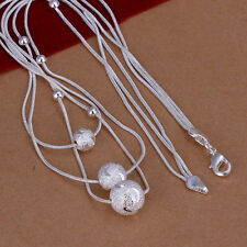 New Arrival Women's Silver Three Lines Beads Charm Pendant Necklace
