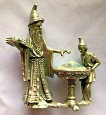 "Pewter Metal 2.5"" Gnome Mystical Men w Jewel in Basin Figurine - Mg"