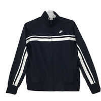 Nike Sportswear Track Jacket Womens L Large 12 14 Blue Full Zip Mock Neck SWOOSH