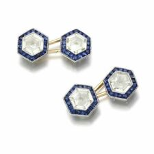 14k White Gold Cuff Link Men's Jewelry Hexagon Blue Accessory Shirt Gift