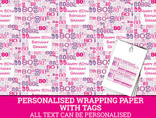 Personalised Happy 80th Birthday Wrapping paper - Pink 80th Gift Wrap