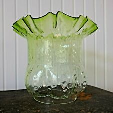 Antique English Victorian Green Glass Oil Lamp Shade