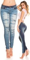 Jeans Donna Stretch Pantalone Denim Strappi Used Look Pants Skinny Casual NUOVO
