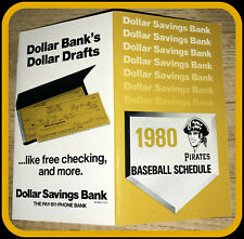 1980 PITTSBURGH PIRATES DOLLAR SAVINGS BASEBALL POCKET SCHEDULE FREE SHIPPING