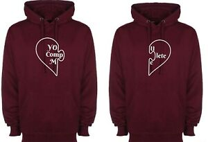 Couple matching Hoodie Hoody You Complete Me Hood Valentine's gift Funny BF GF