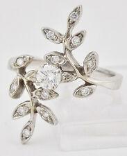 Estate 14K White Gold 1/3 Carat Diamond Ring Long Floral-Leaf Spray Design