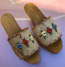 Vintage Woven Straw Wood Shoes Flowers Made in Italy probably size 6