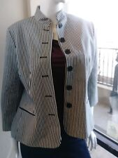 Womens Black /White Striped Blazer By CHAPS Sz 12