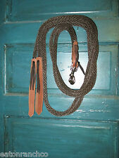 Brown Nylon Split Roping Barrel Racing Reins with 2 snaps and Water Ties RANCHCo