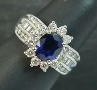 Beautiful 1.00ct Diamond & Sapphire 18ct White Gold Cluster Ring d0249