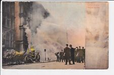Fire Scene New York City Postcard view horses hand pump NY firefighting UNPOSTED
