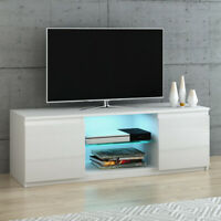 120cm Modern TV Unit Cabinet Stand White High Gloss Doors & Matt body FREE LED