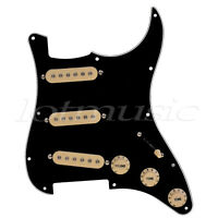 Kmise Electric Guitar Loaded SSS Pickguard Scratch Plate for Fender Strat Black