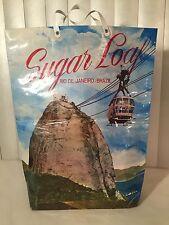 Vtg 60s Sugar Loaf Rio De Janeiro Brazil Souvenir Tote Bag Pao De Azucar Handle