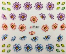 Nail Art 3D Decal Stickers Daisy Flowers Blue, Lavender & Coral E339