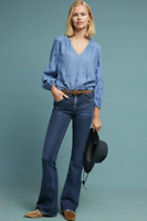 MCGUIRE DENIM Majorelle Mid Rise Distressed Flare Jeans Faded Blue $228 #43
