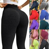 Women Anti-Cellulite Yoga Pants High Waist Ruched Butt Lift Leggings Fitness PP3