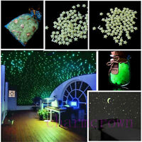 200Pcs 3D Stars Moon Sticker Glow In The Dark Bedroom Wall Decal Shiny Decor Hot