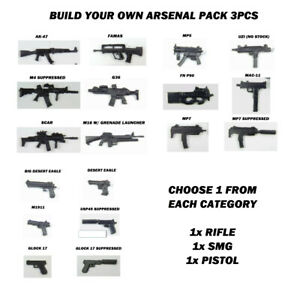"""Custom Weapons 1:12 Scale 6"""" Build Your Own Arsenal Pack Rifle SMG Pistol Fodder"""