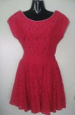 Miss Cherry Dark Pink LACE Dress SIZE 8 BNWT Cut Out Back