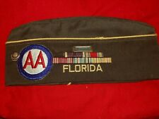 US WWII Florida veterans cap with owner's original ribbon bars and patch