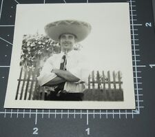 Funny FACE Man SOMBRERO HAT Mexican Handsome Guy SILLY FIESTA 1938 Vintage PHOTO