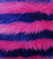 faux fur Purple Pink stripe shaggy  long pile fabric upholstery custome per yard