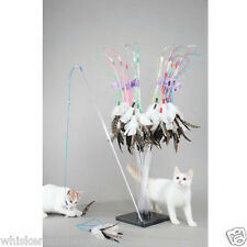 """Vee Enterprises 32"""" long Purrfect Feather Cat Toy Teaser Wand Made in USA"""