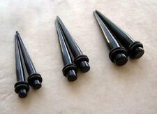 6g 4g 2g Ear Taper Stretcher Plug Acrylic Black Kit SET Gauges z 3 PAIRS