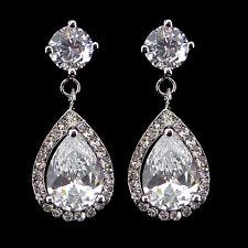Luxury Twinkling 4cm Long Tear Drop Big Drip Use Austria Crystal CZ Earrings