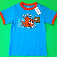 """*NEW! """"Catch Of The Day"""" Fish Baseball Baby Boys Shirt 6-9 12 Months Gift! Blue"""