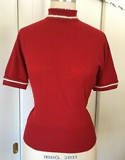 Vtg 50s Pringle Cashmere Sweater Red w/ Collar & Cuff Detail Back Buttons B 40