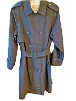 London Fog Women's Trench Coat Black Size 14 Regular Double Breasted Belted