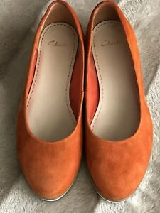 Clarks Compass Zone Orange Suede Slip-on Low Wedge Shoes, UK 4.