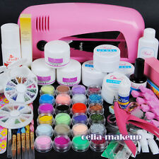 9W UV Lamp Dryer UV Gel Base Primer Acrylic Powder Nail Art Brush Tips Kit 8-5
