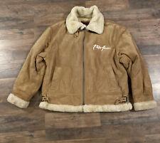 Phat Farm Beige Genuine Leather Warm Zip Men Jacket Coat Size 2XL Faux Fur