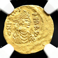 Phocas, AD 602-610. Gold Tremissis, Cross, NGC Ch VF