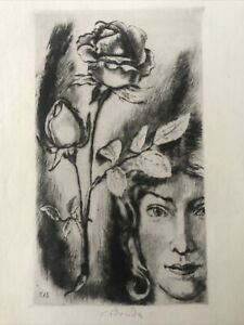Cyril BOUDA (1901-1984, Czech) pencil signed etching WOMAN & ROSE